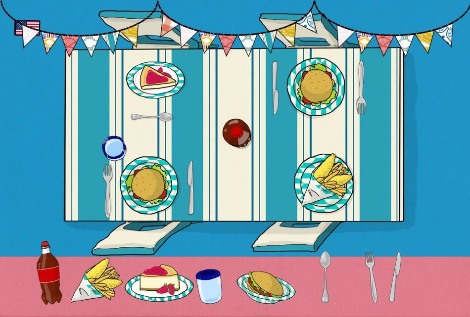 USA food illustration by Tostoini from WORLD Food educational kids app