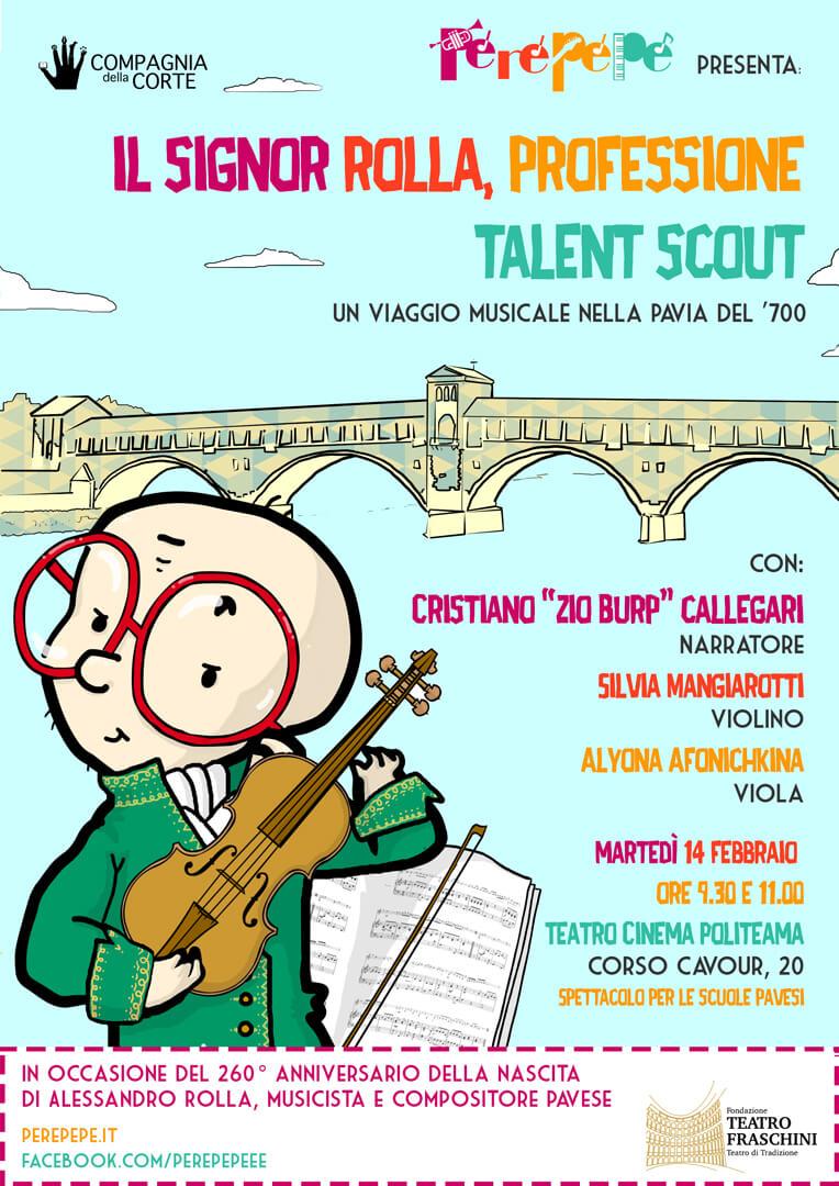 Perepepé Il signor Rolla spettacolo musicale illustrazione di tostoini