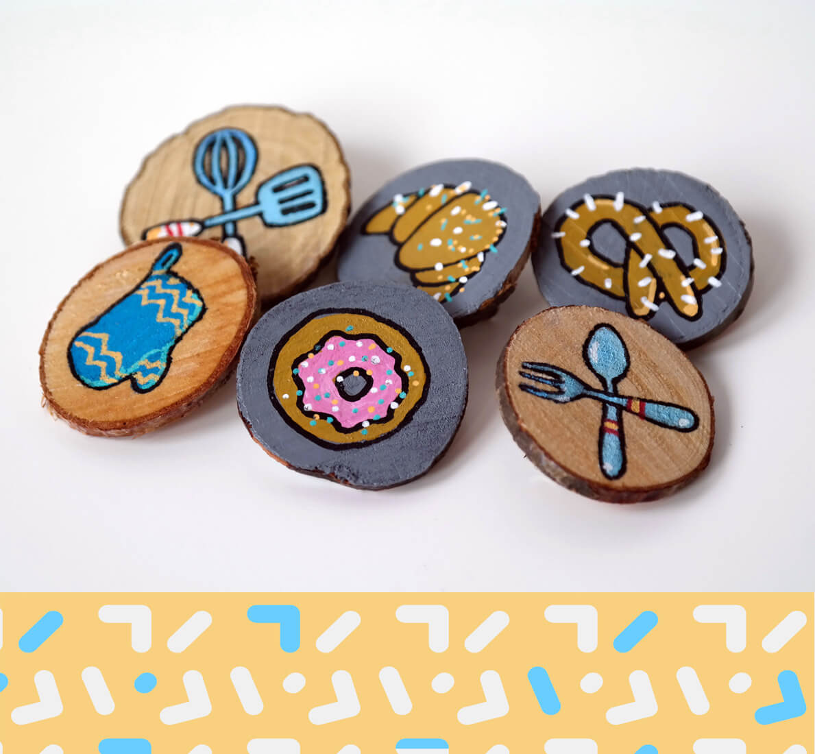 spille in legno con illustrazioni personalizzate tostoini