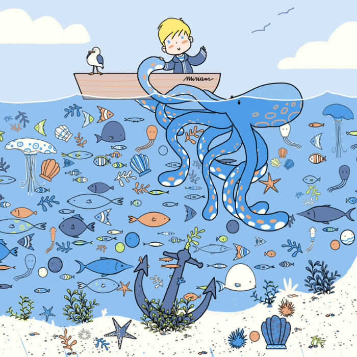 Sea creatures nautical illustration for Miriam