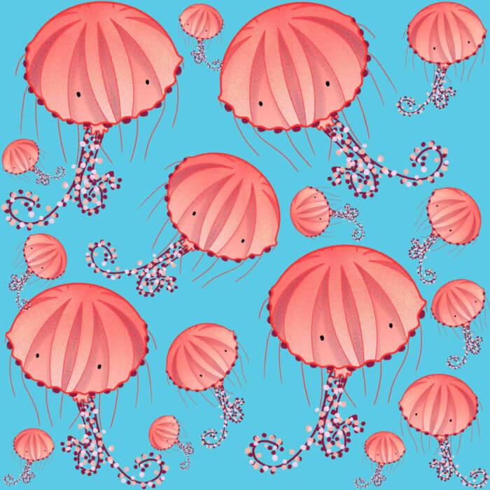 Chrysaora Hysoscella Jellyfish illustration pattern tostoini