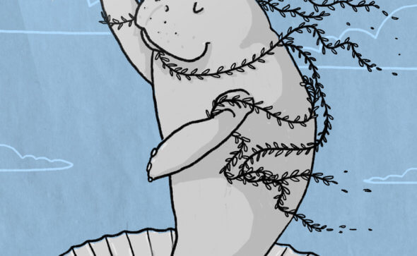 Lamentini e altri animali marini mostra illustrazione Tostoini