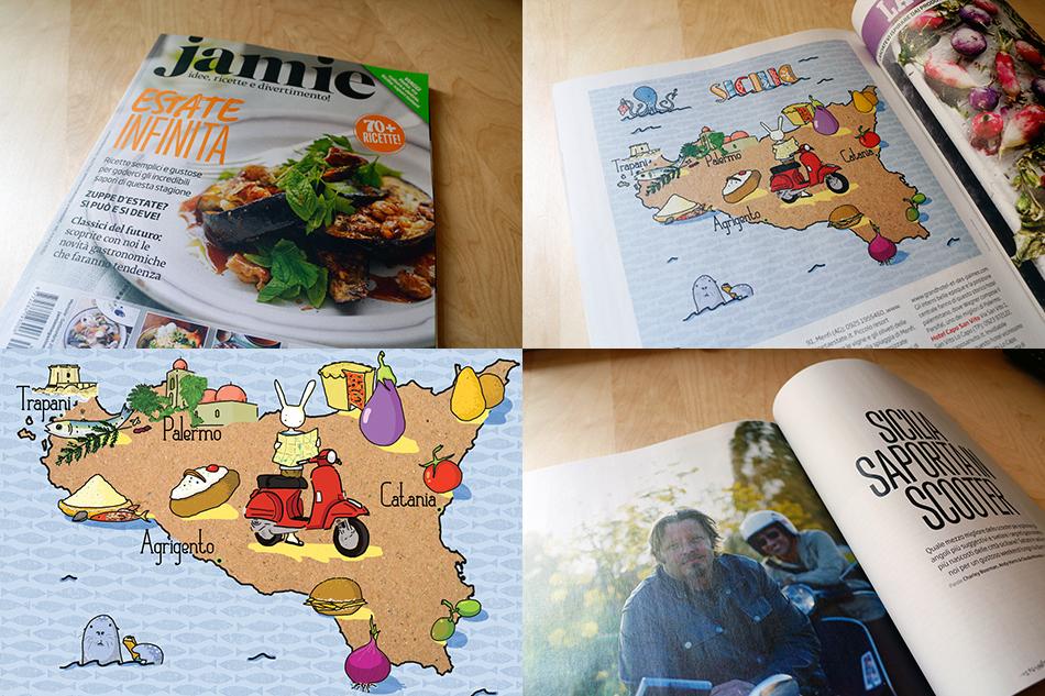 Sicilia saporita in scooter | illustrazione di tostoini per Jamie Magazine Italia
