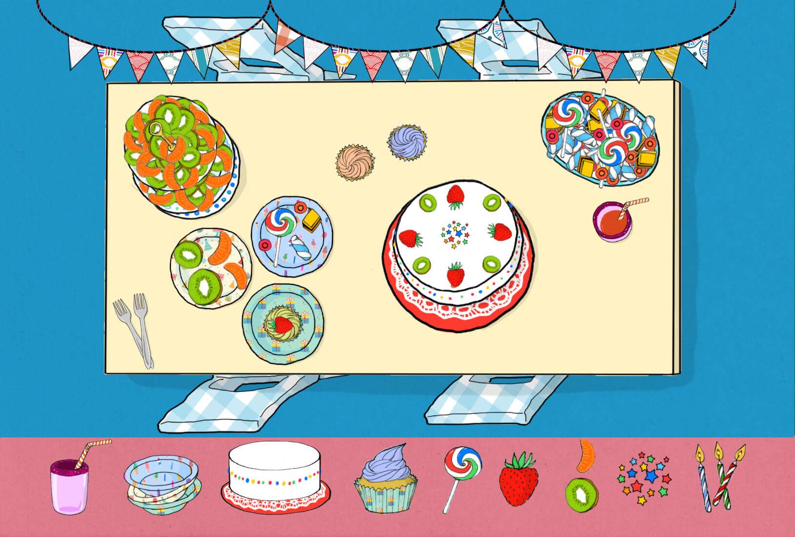 Birthday party illustration inside WORLD Food by Art Stories