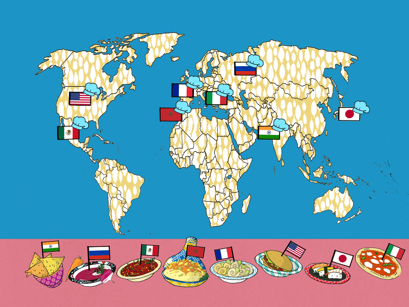 Map illustration for WORLD Food – educational kids app